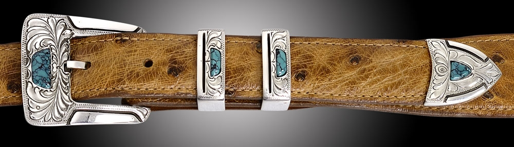 "EC50T 1"" 4 piece buckle,  Gila Feather Engraved, Turquoise"