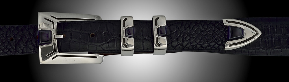 "A2 1"" polished 4 pc buckle with black jade"