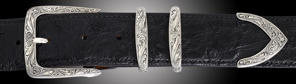 EF61, Denver, Fine Engraved 4 piece buckle set Black Ostrich