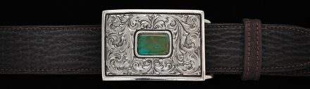 "EF102T Montezuma, fine engraving, 1½"", rectangle buckle.with Turquoise on Chocolate Shark"