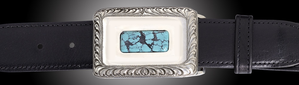 EC101T, El Dorado, Turquoise, engraved, 1½ on Black Spanish Calf