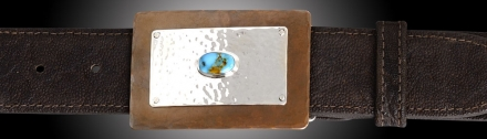 TKCTQ Copper w/Silver & Turquoise rectangular buckle on Chocolate Vintage Elephant