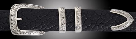 EC64 Caliente Feather Engraved 4pc buckle on Black Bison