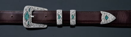 "EF48T 1"" fine engraved with turquoise chip inlay 4 piece buckle"
