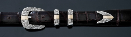 "EG38 1"" floral engraved 4pc buckle with 14K gold band"