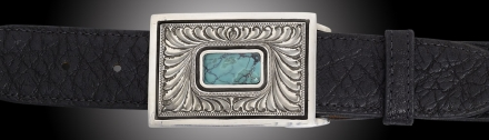 "EC102T, Montezuma, Turquoise, 1½"" with turquoise and feather engraving on Black Vintage Elephant"