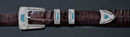 "EF50CT 1"" 4 piece buckle, fine engraved with turquoise chip inlay"