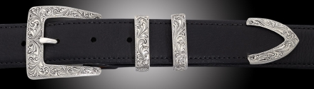 EF68 Cadillac Fine Engraved 4 piece buckle on Black Calf