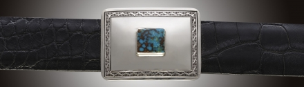 One inch rectangular buckle with turquoise stone centered