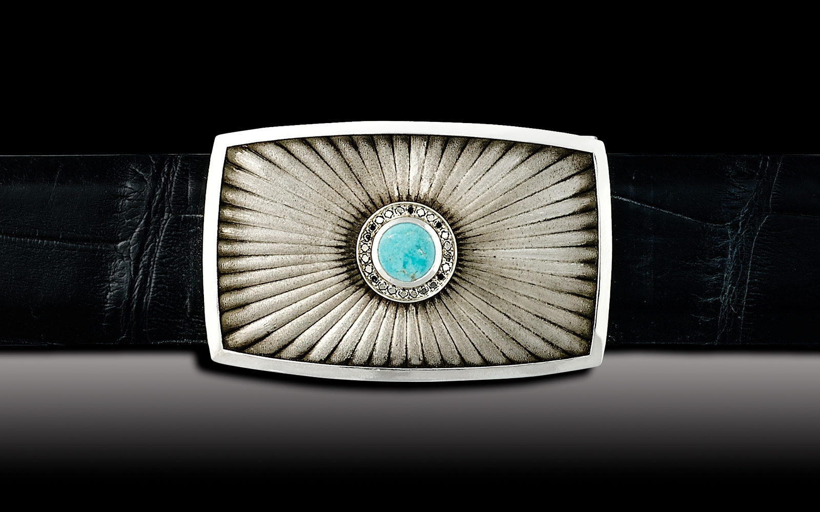 "Eclipse 1 1/2"" Turquoise and white diamonds"