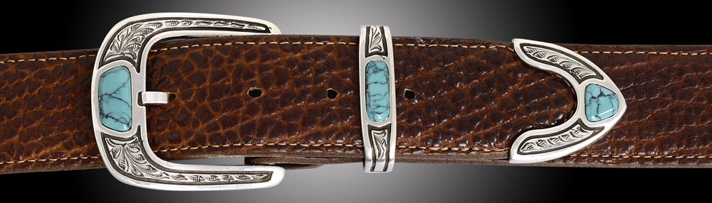 EC6TA Penasco, Turquoise 1½ with turquoise inlay stones, 3 piece set on Cognac Bison
